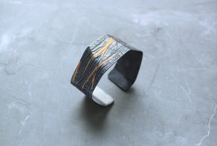 Rhona McCallum Neolith Cuff in Oxidised Silver & Keumboo