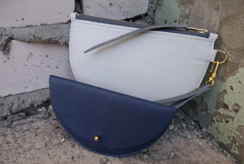 Jude Gove Odette Wristlet in Stone with Colette Grande Coin Purse in Ocean Blue