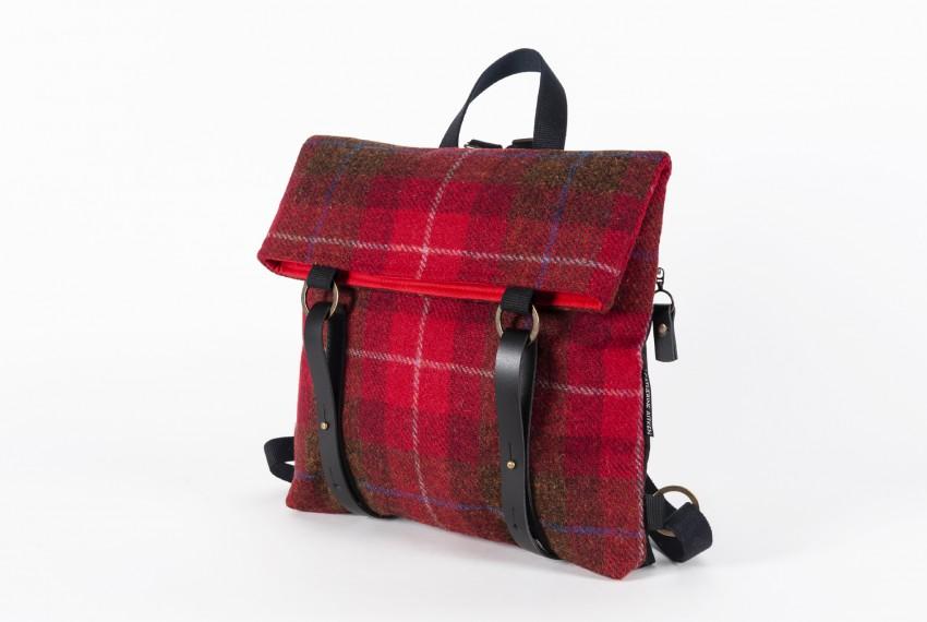 Catherine Aitken Hepburn Backpack in Red Check