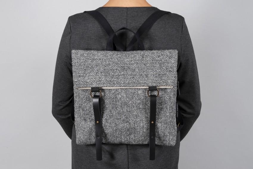 Catherine Aitken Hepburn Backpack in Grey Check