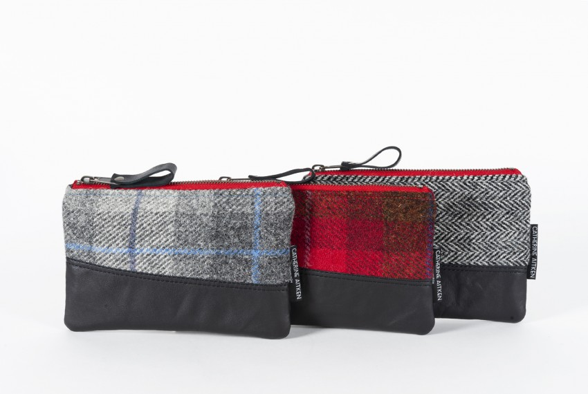 Catherine Aitken set of Holyrood Clutches in Grey Check, Red Check and Grey Herringbone