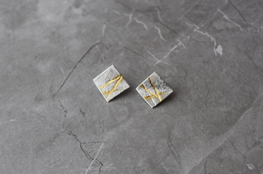 Rhona McCallum Neolith Earrings in Sterling Silver & Keumboo