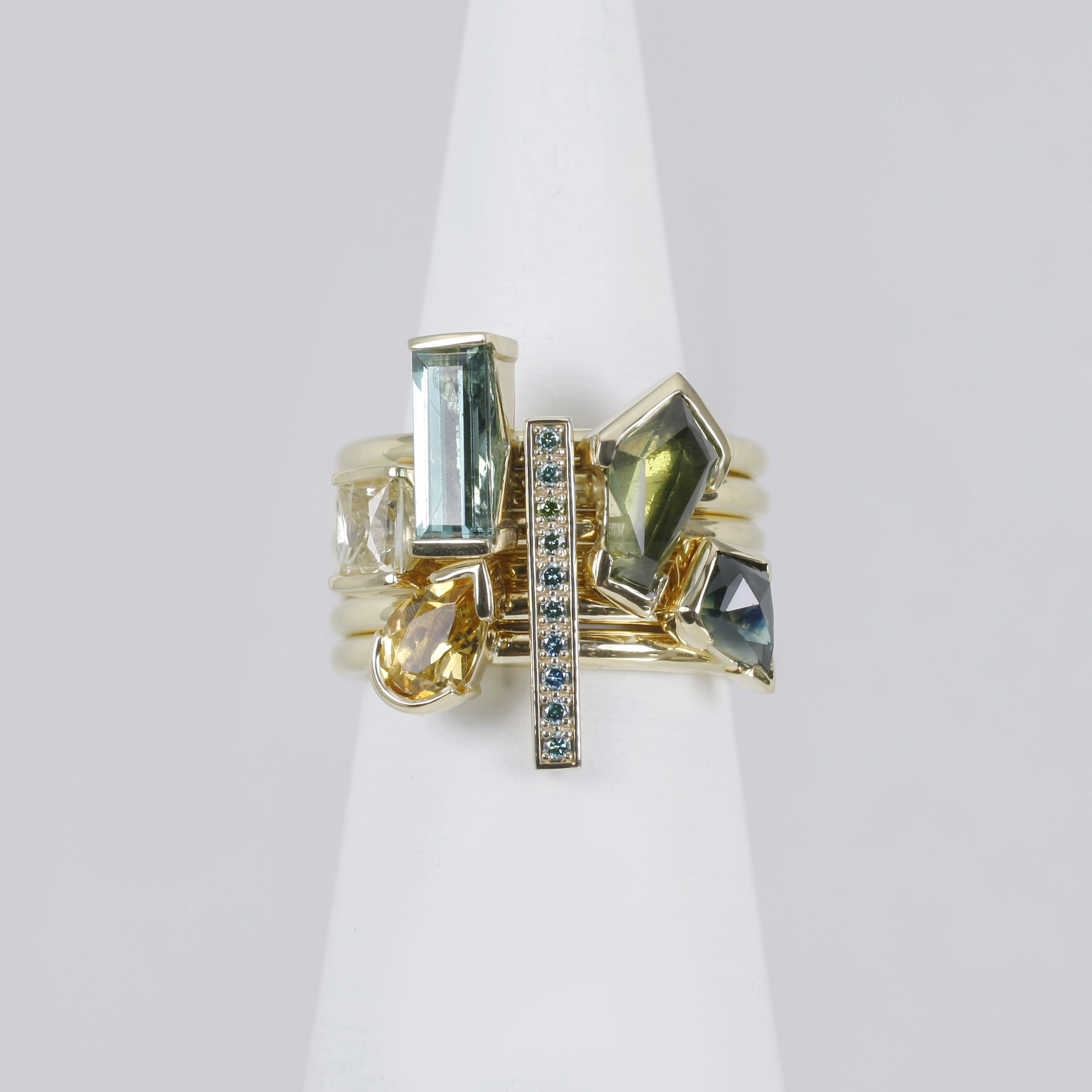 Abstract Ring Stack - 18ct yellow, sapphires, topaz and tourmaline/>               </div>               <div class=