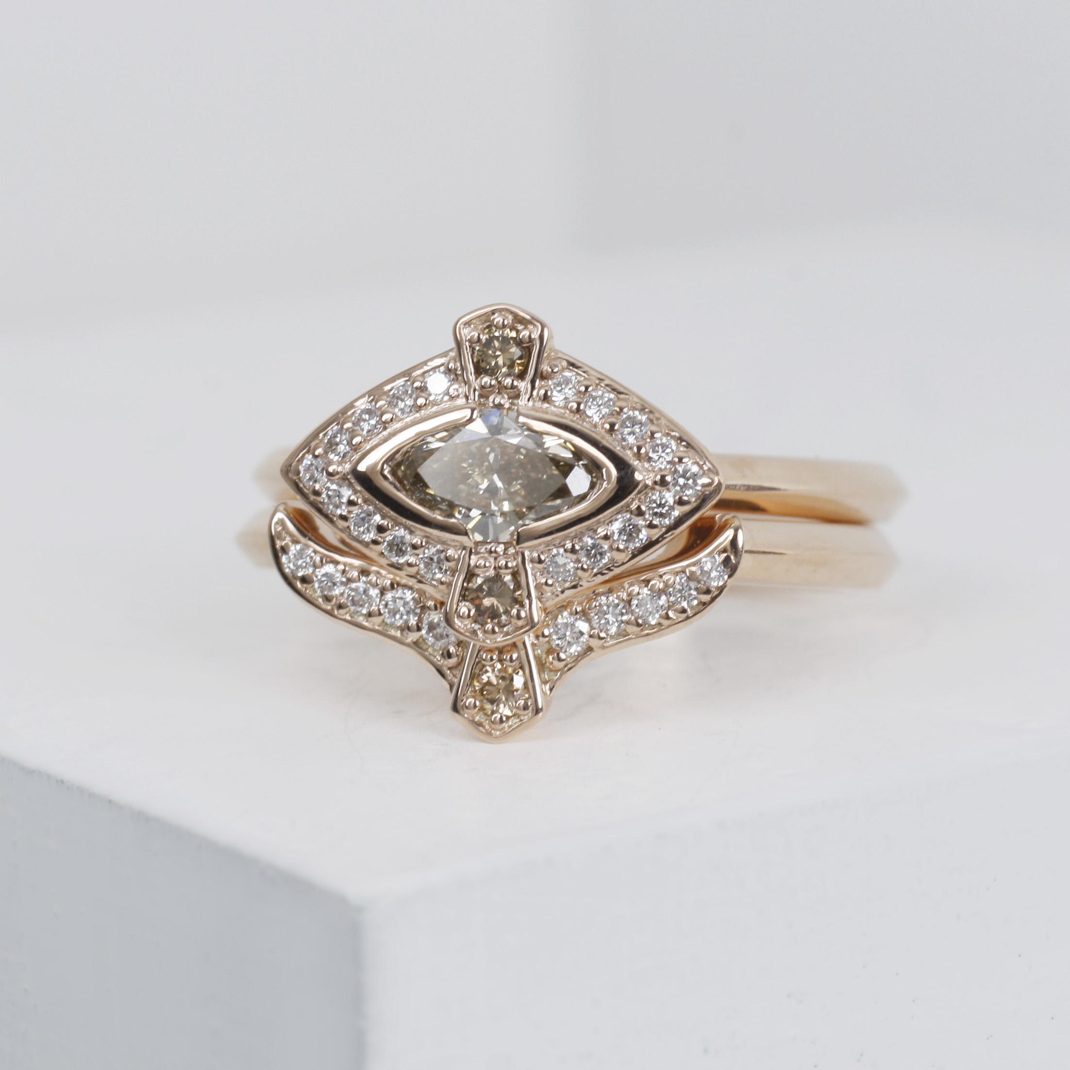 Rose gold, champagne diamond and white diamond wedding ring set./>               </div>               <div class=