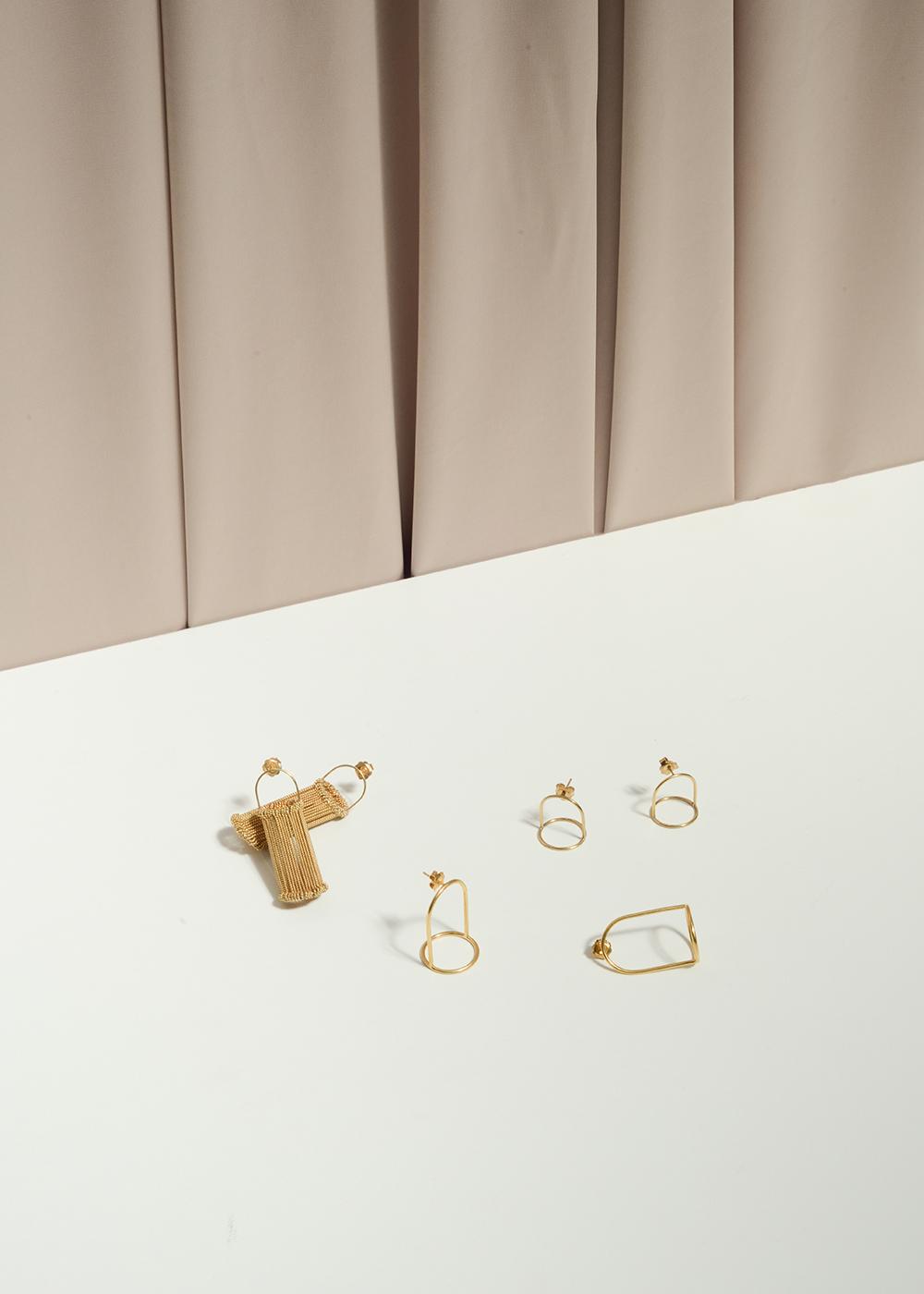 Heddle, Mini Bell Jar and Bell Jar earrings