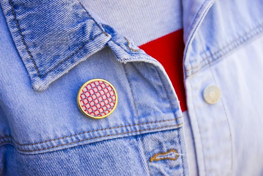 Lauren Smith Pink Criss-Cross Pin on denim jacket