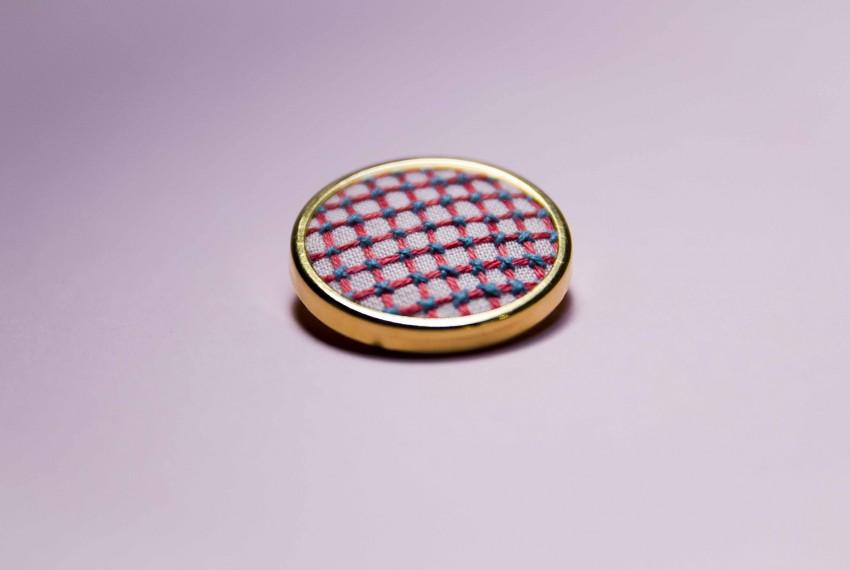 Lauren Smith Pink Criss-Cross Pin