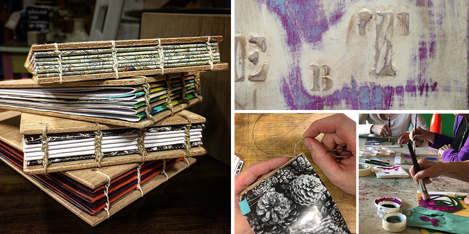 Paint, Stencil and Distress - making wooden books