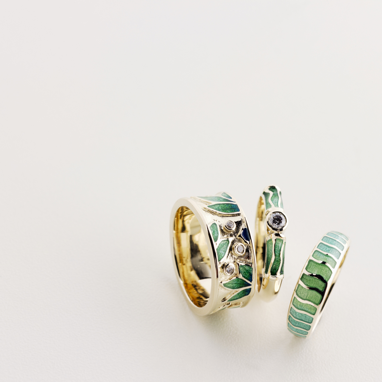 Emerald, tourmaline and green enamel rings />               </div>               <div class=