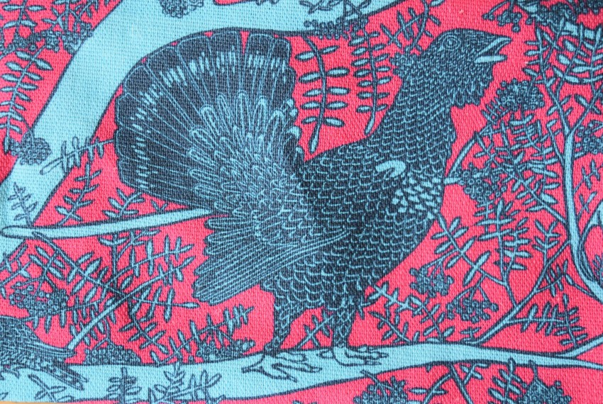 Little Axe Capercaillie Zip Bag close up of capercaillie design