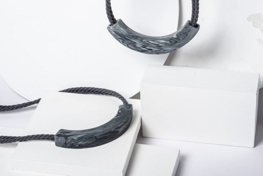 Beth Lamont Grey Marble Arc Necklaces