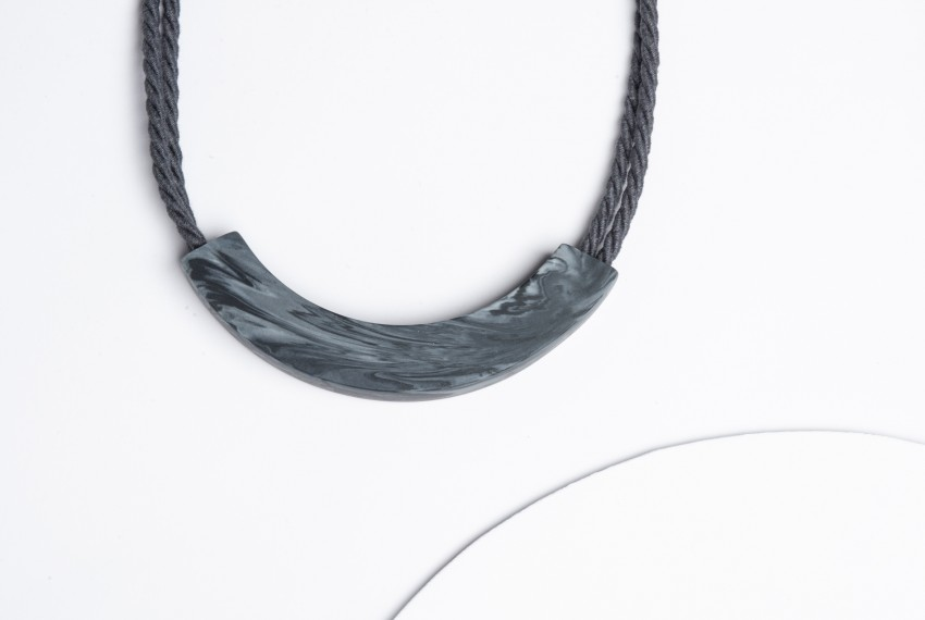 Beth Lamont Grey Marble Arc Necklace