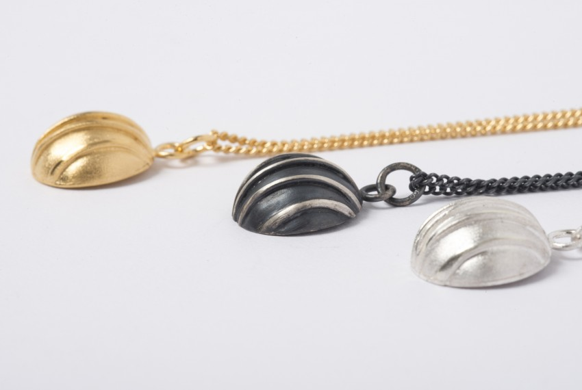 Tracy Wilson Contrast Domed Pendants in gold, oxidised silver and silver