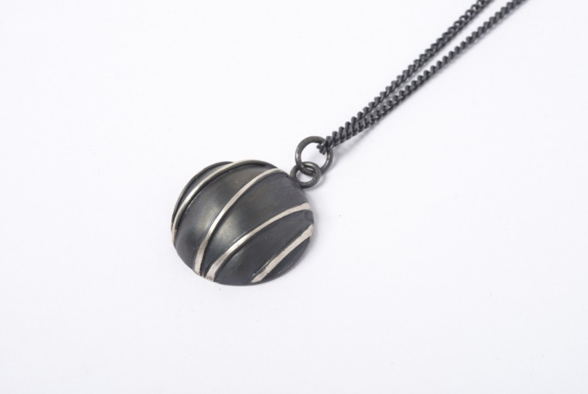 Tracy Wilson Oxidised Silver Contrast Domed Pendant
