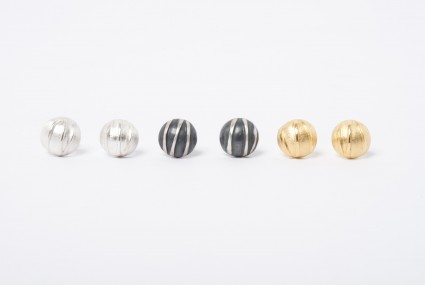 Tracy Wilson Sterling Silver, Oxidised Silver and Gold Plated Sterling Silver Contrast Domed Studs