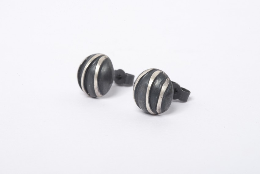 Tracy Wilson Oxidised Sterling Silver Contrast Domed Studs