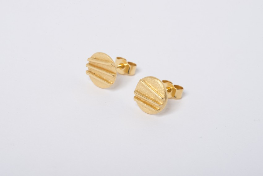 Tracy Wilson Gold Plated Sterling Silver Contrast Simple Studs