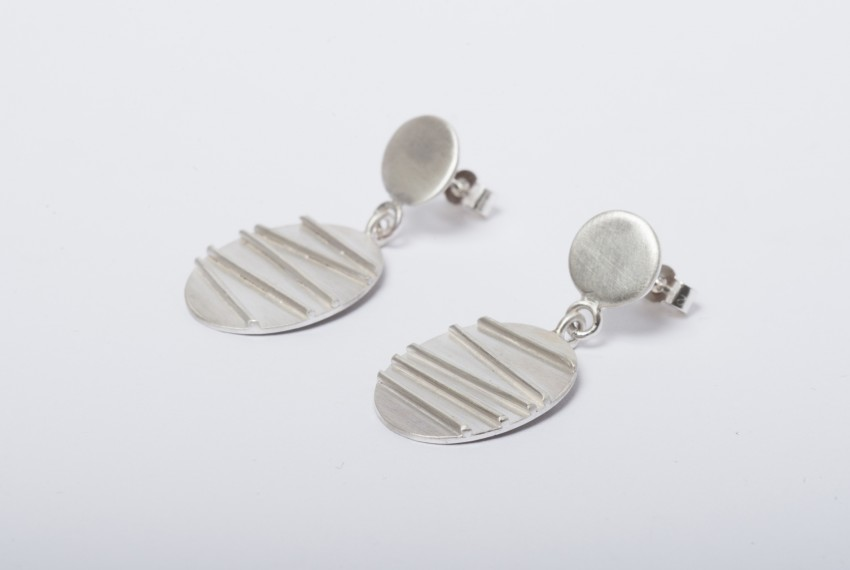 Tracy Wilson Sterling Silver Contrast Oval Earrings