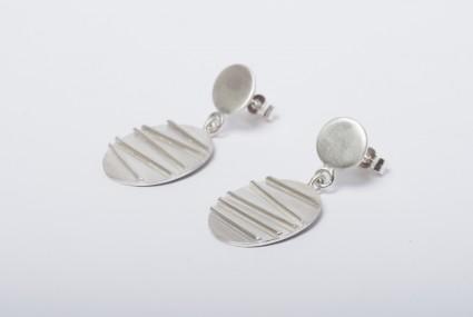 Tracy Wilson Sterling Silver Contrast Oval Earrings