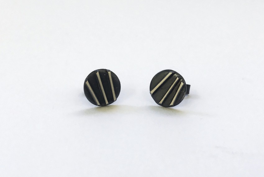 Tracy Wilson Contrast Simple Studs Oxidised Silver