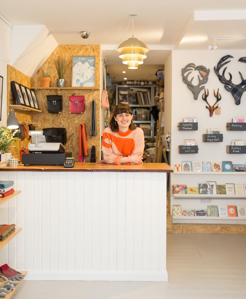 Owner Jen Pearson inside ÒR shop in Portree, Skye