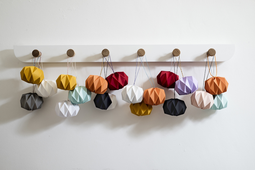 Kate Colin folded paper baubles in a variety of colours