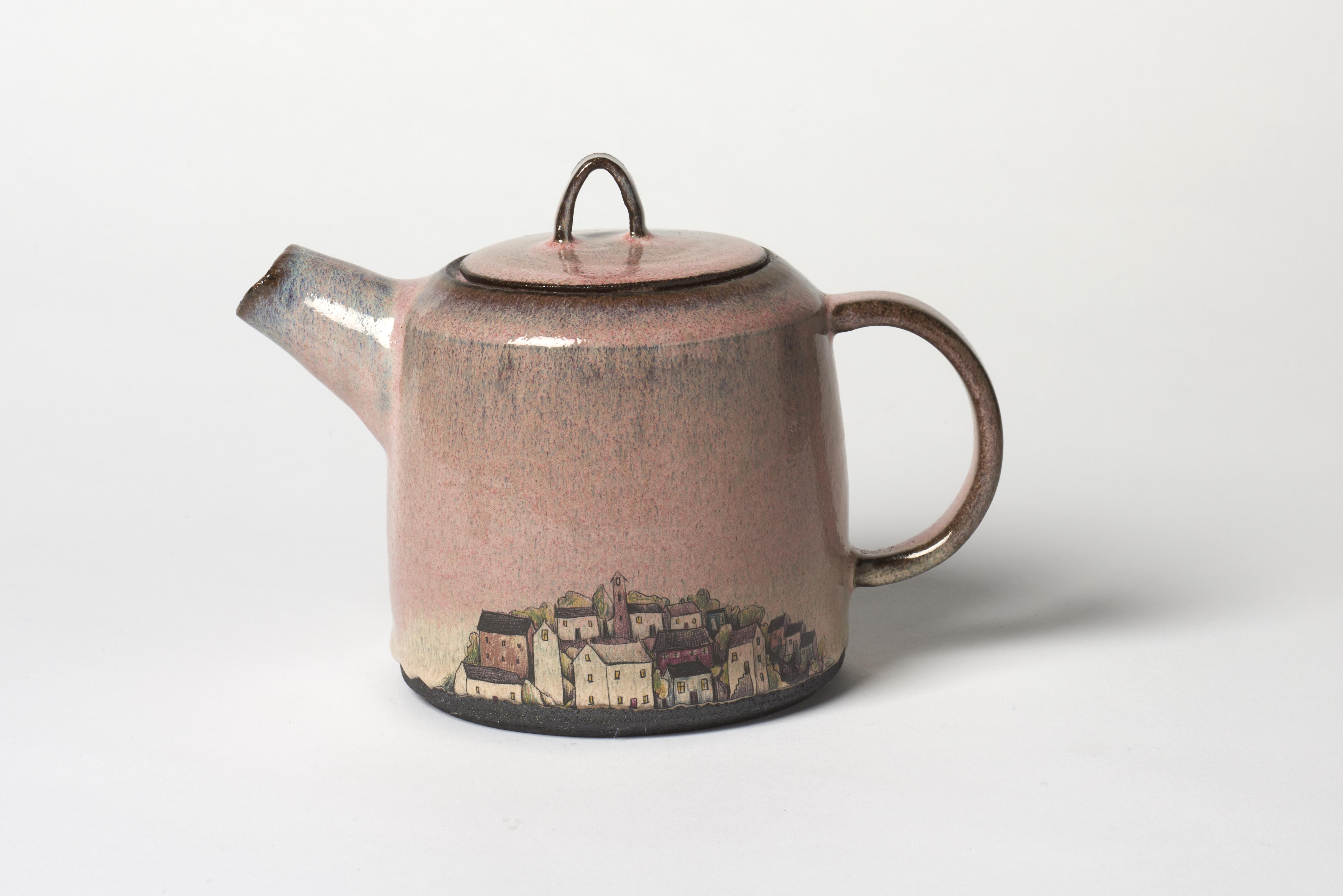Dark Pink Village Teapot