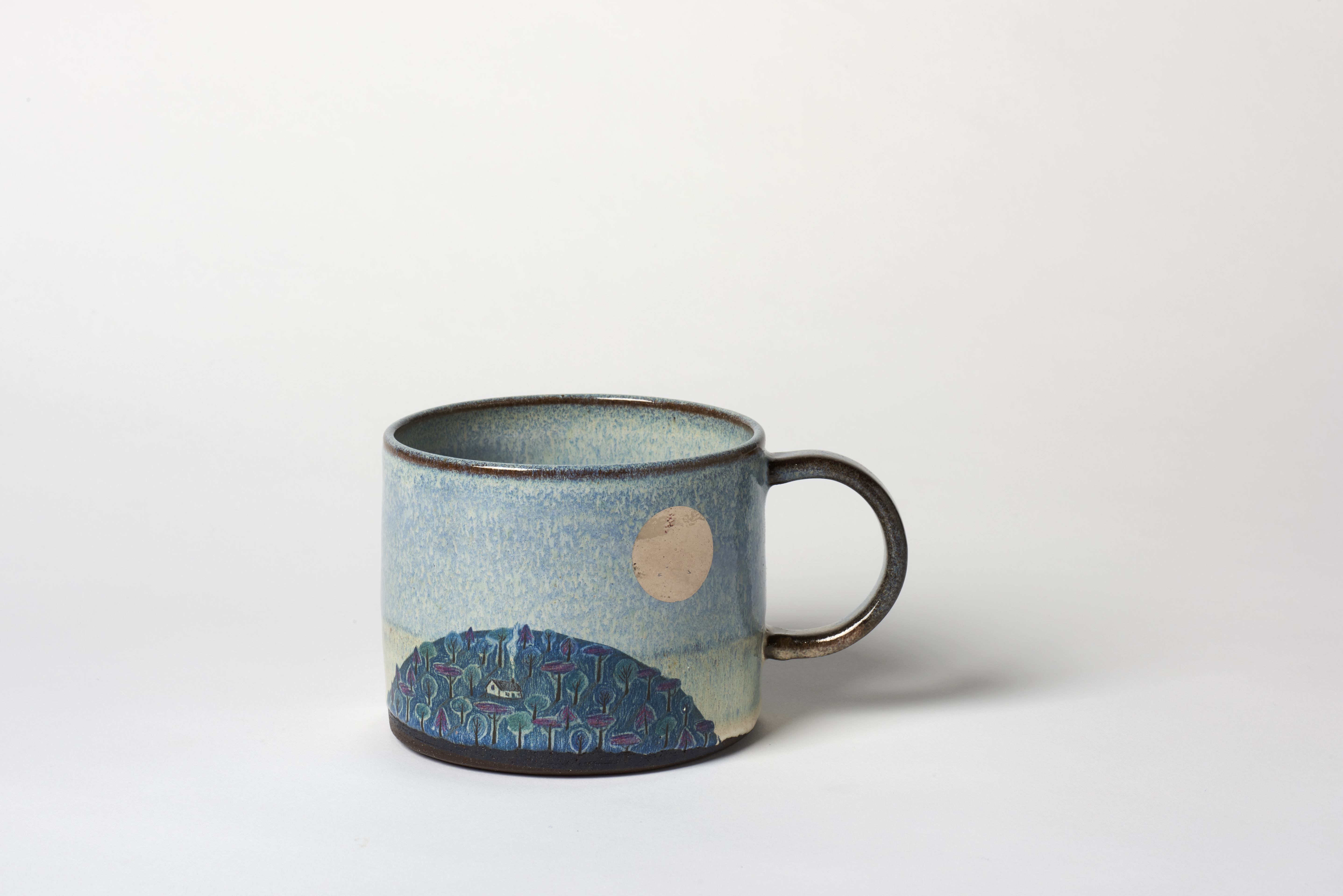 Wide Blue Hill and Silver Moon Mug