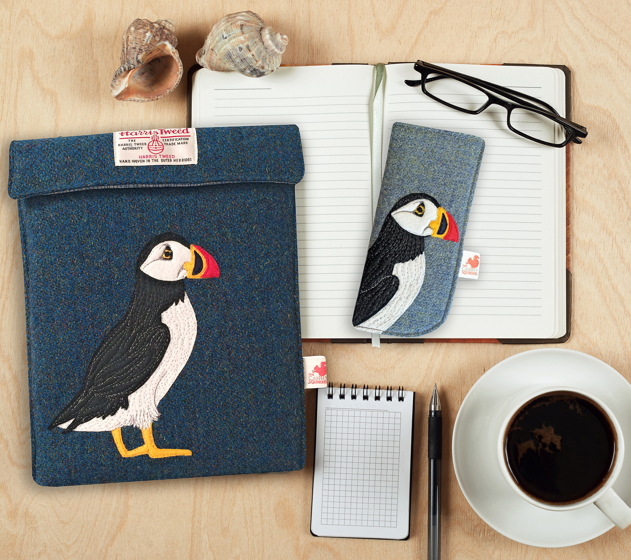 Harris Tweed iPad and glasses case featuring an embroidered puffin