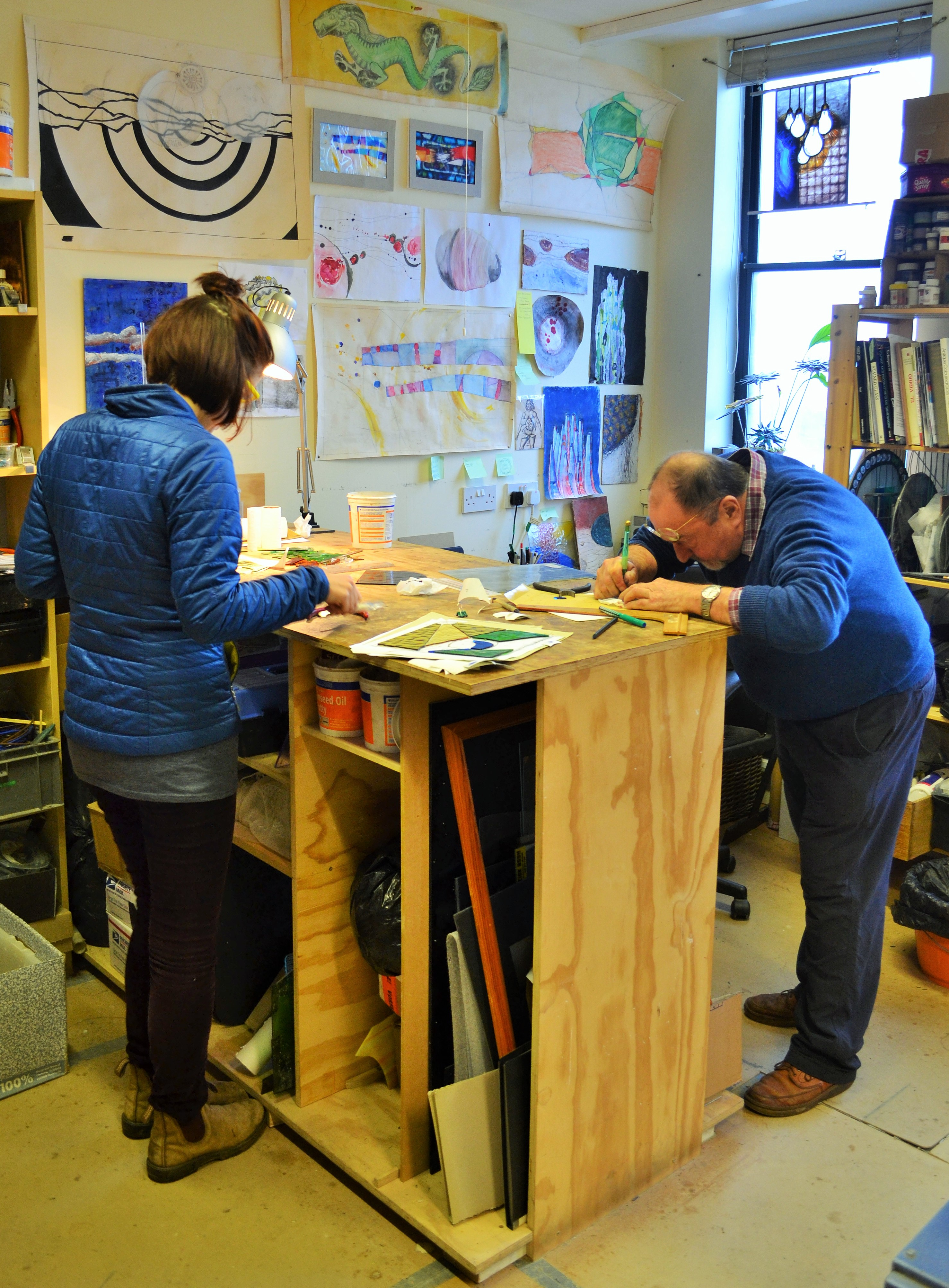 January2016 Stained glass course. Bench1.JPG