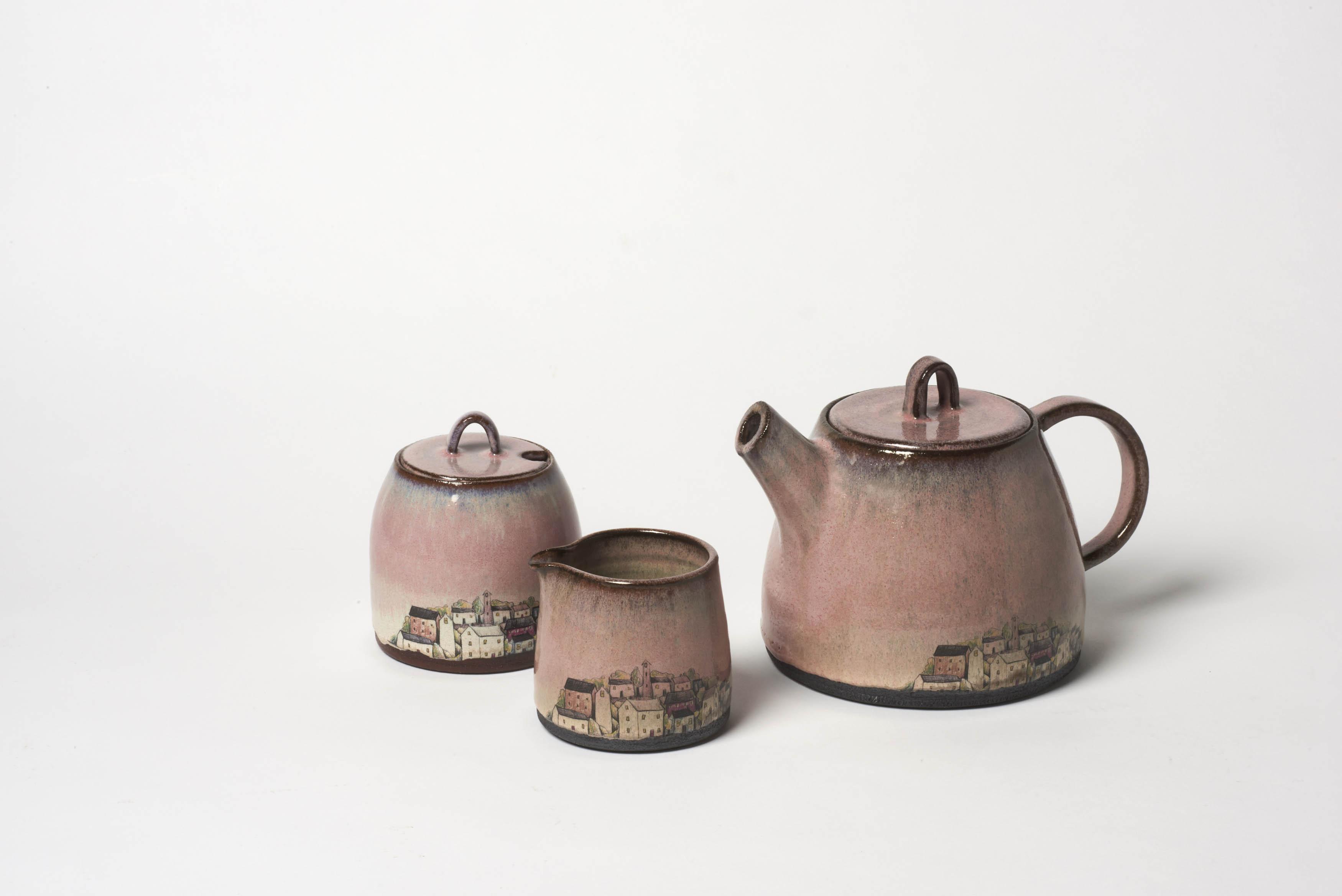 Pink Village Tea Set