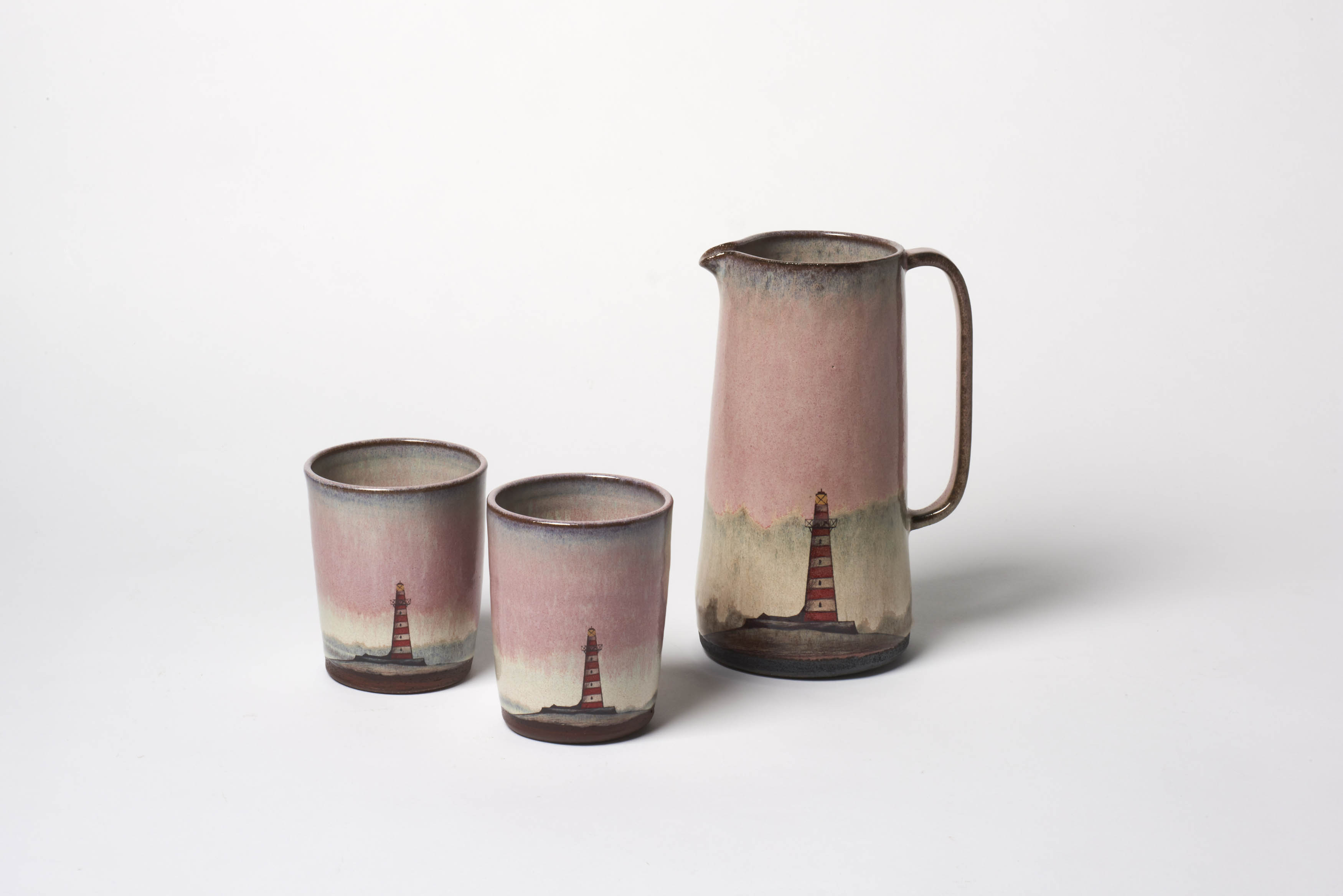 Pink Lighthouse Jug and Cups