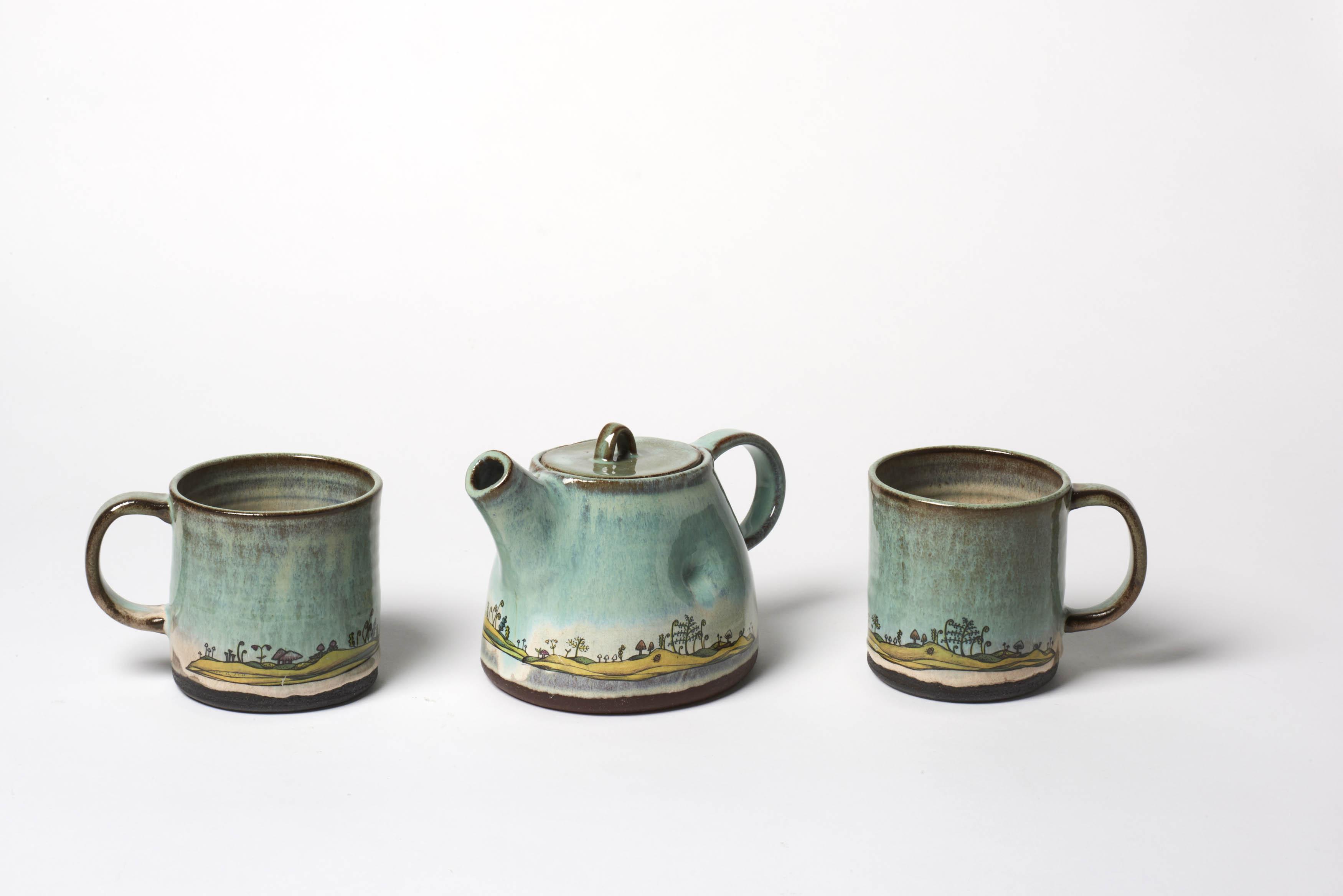 Green Forest Floor Tea Set