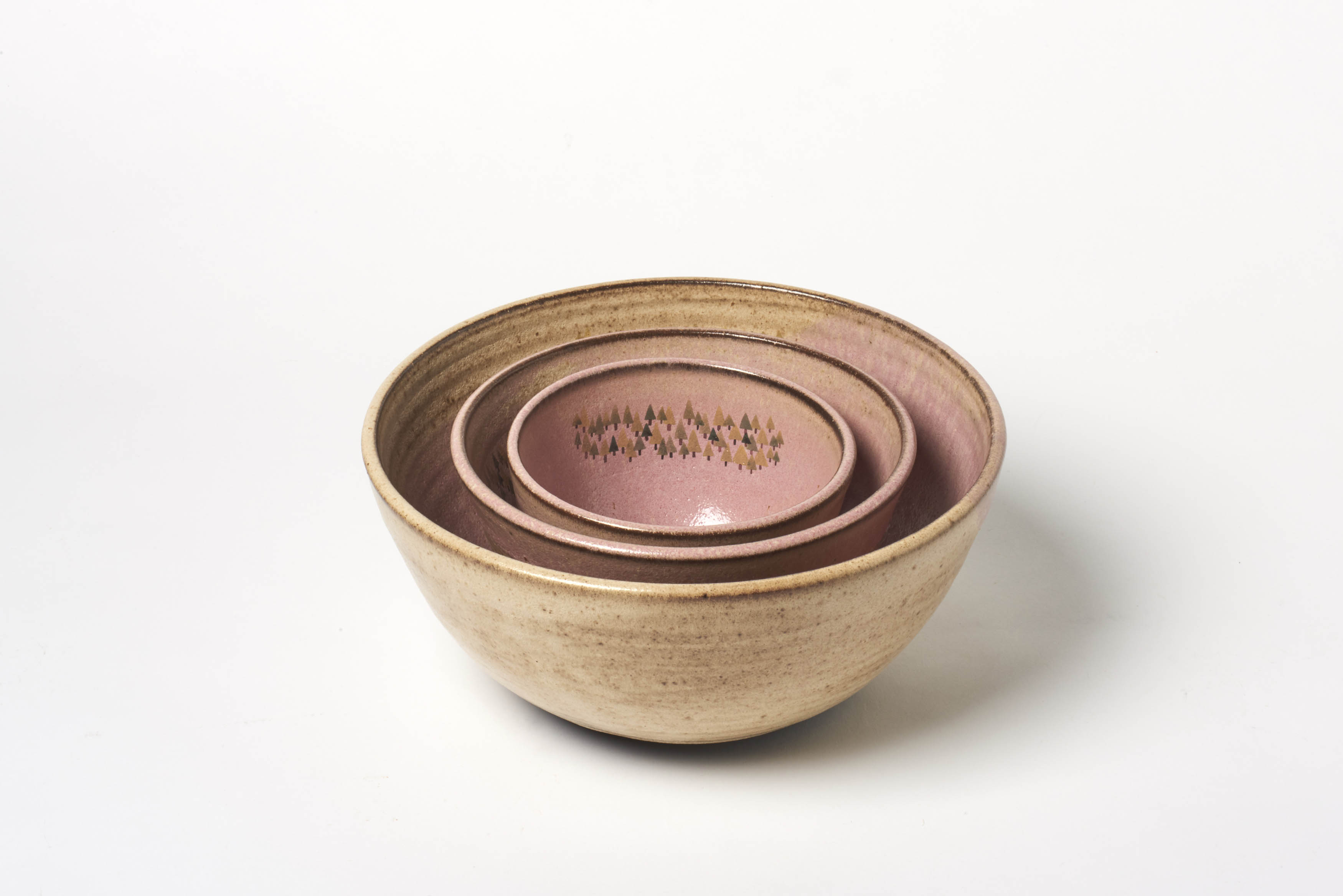 Pink Rustic Forest Nesting Bowls