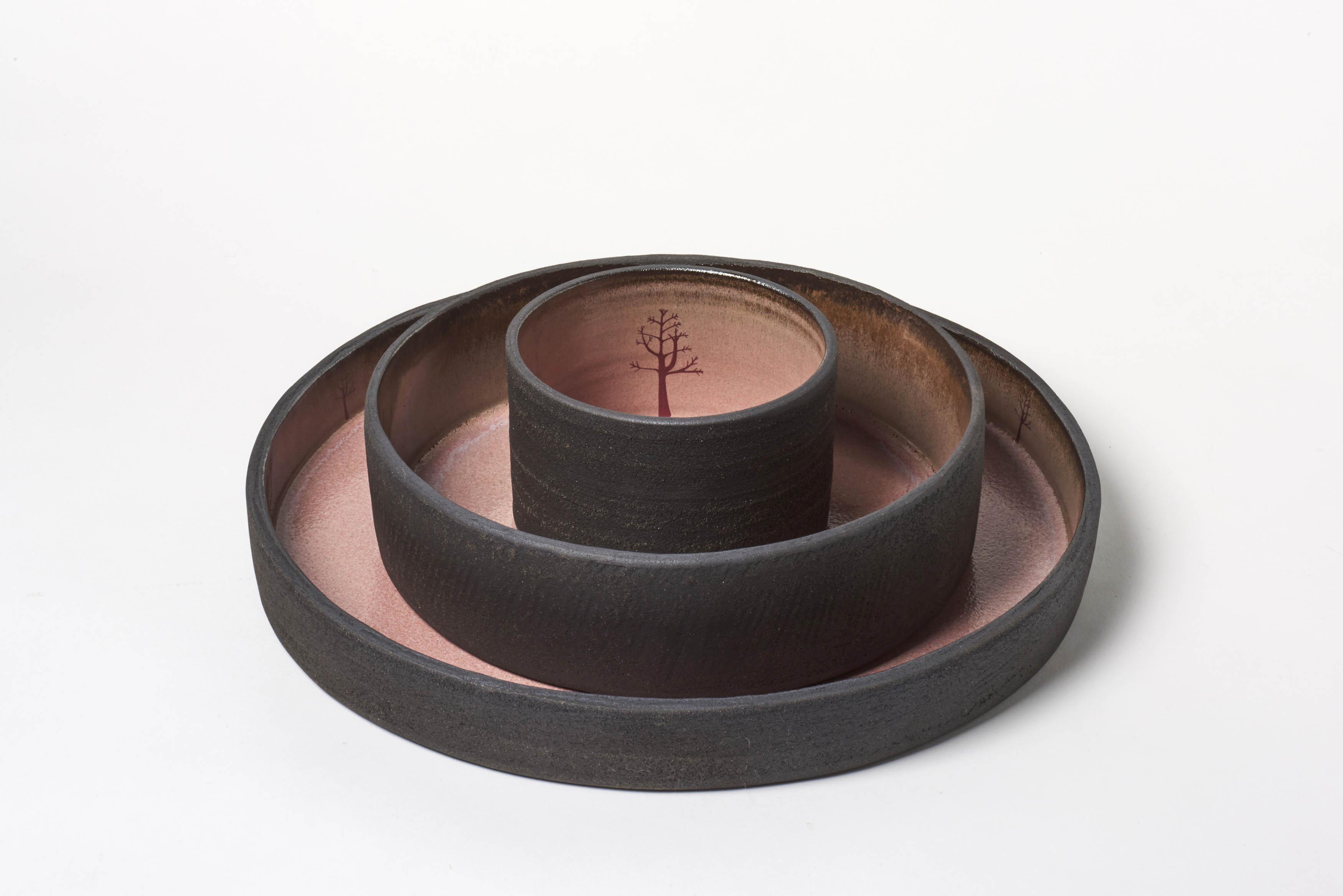 Black Ceramic Winter Tree Bowl Set