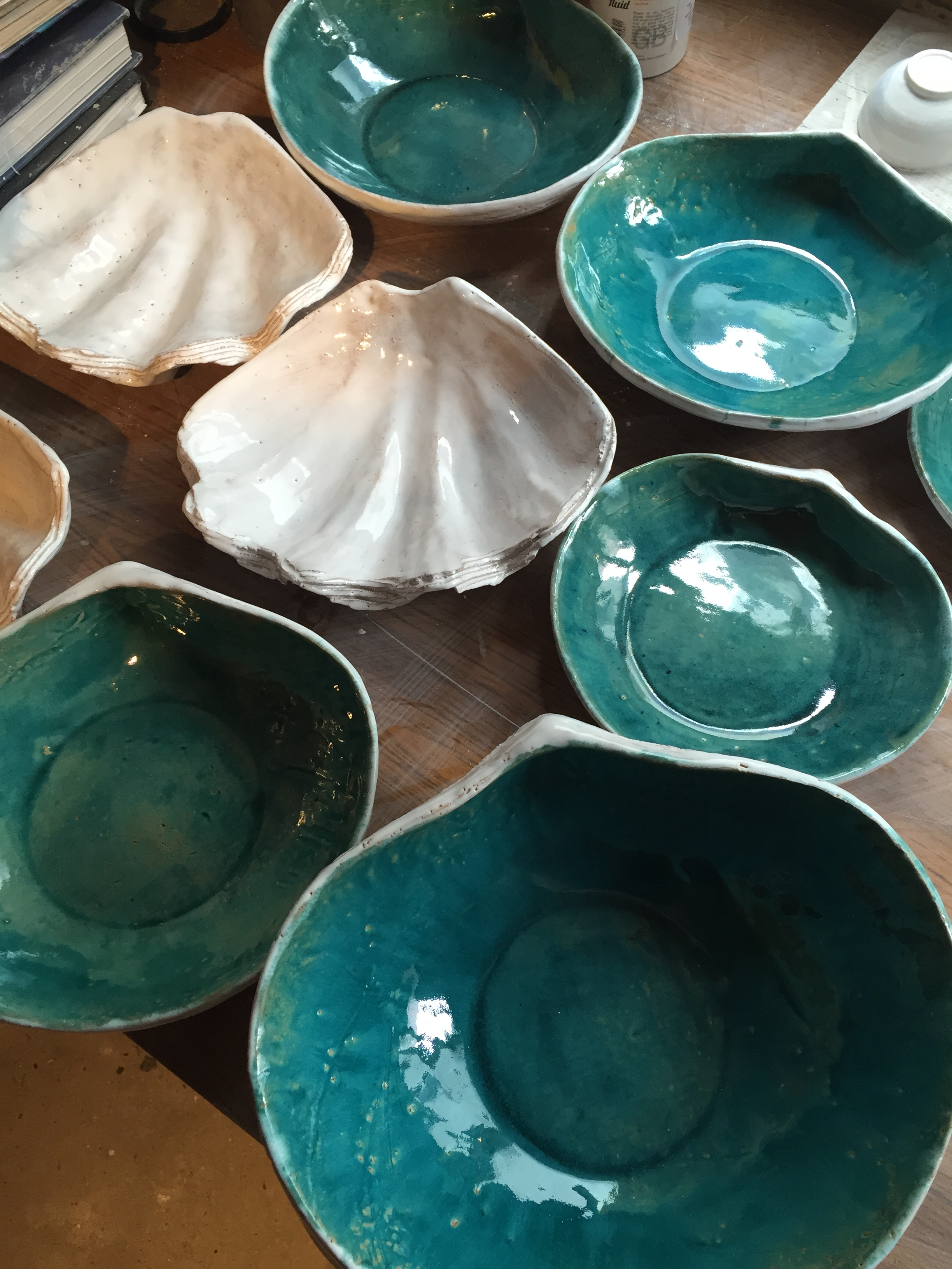 Turquoise Shell Dishes and White Clams