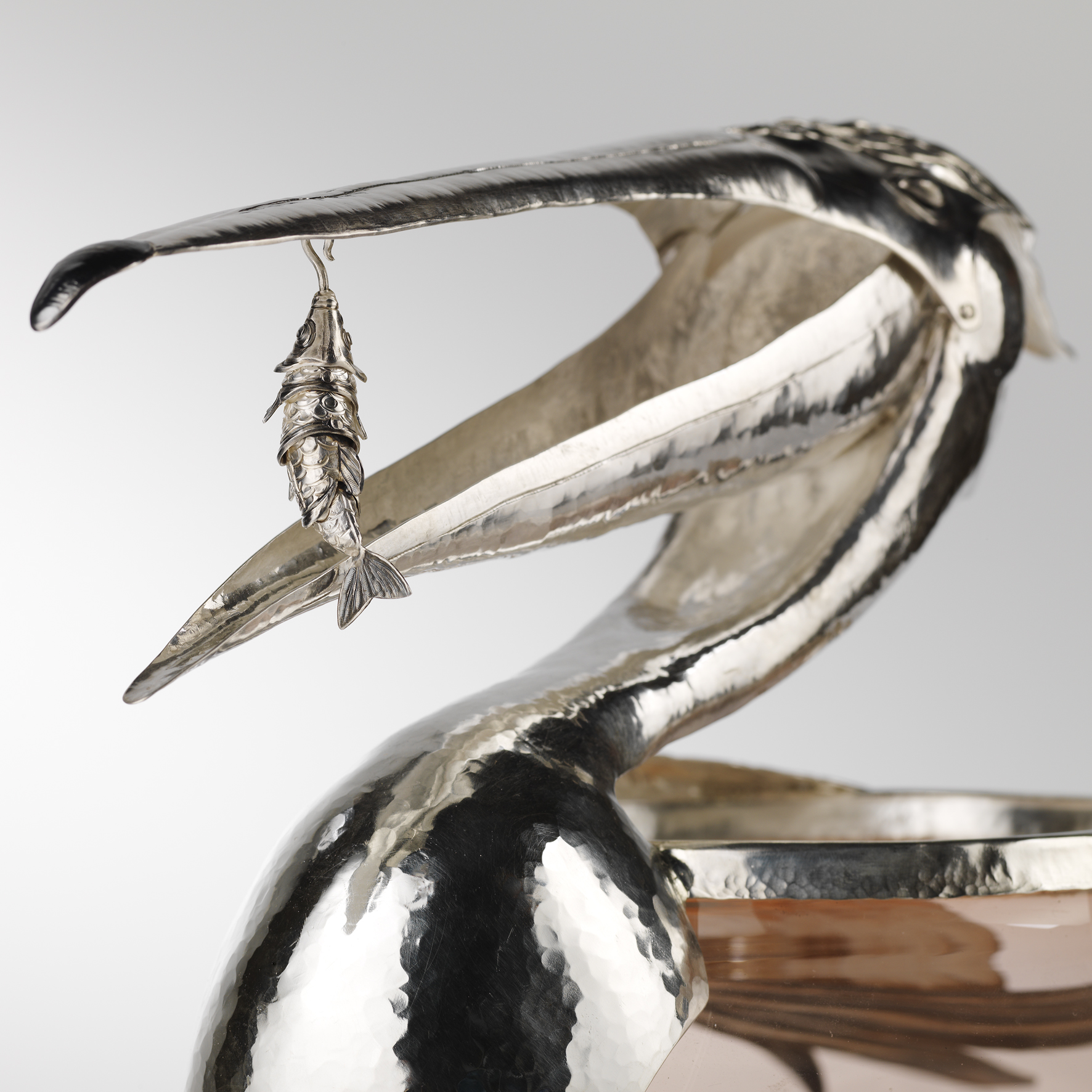 Pelican Bowl: Open beak with Articulated Fish Pendant