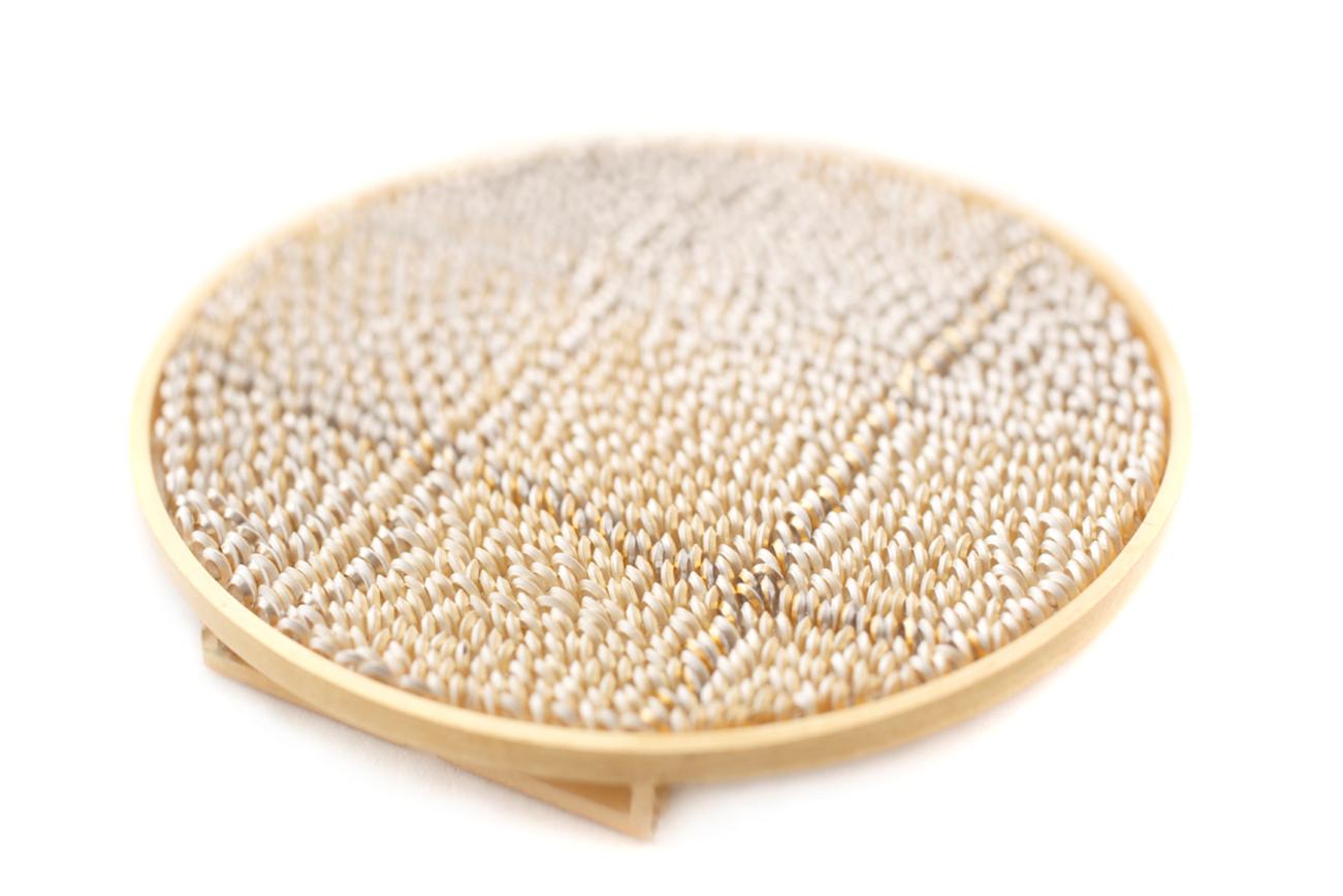 Plaid Lenticular Brooch
