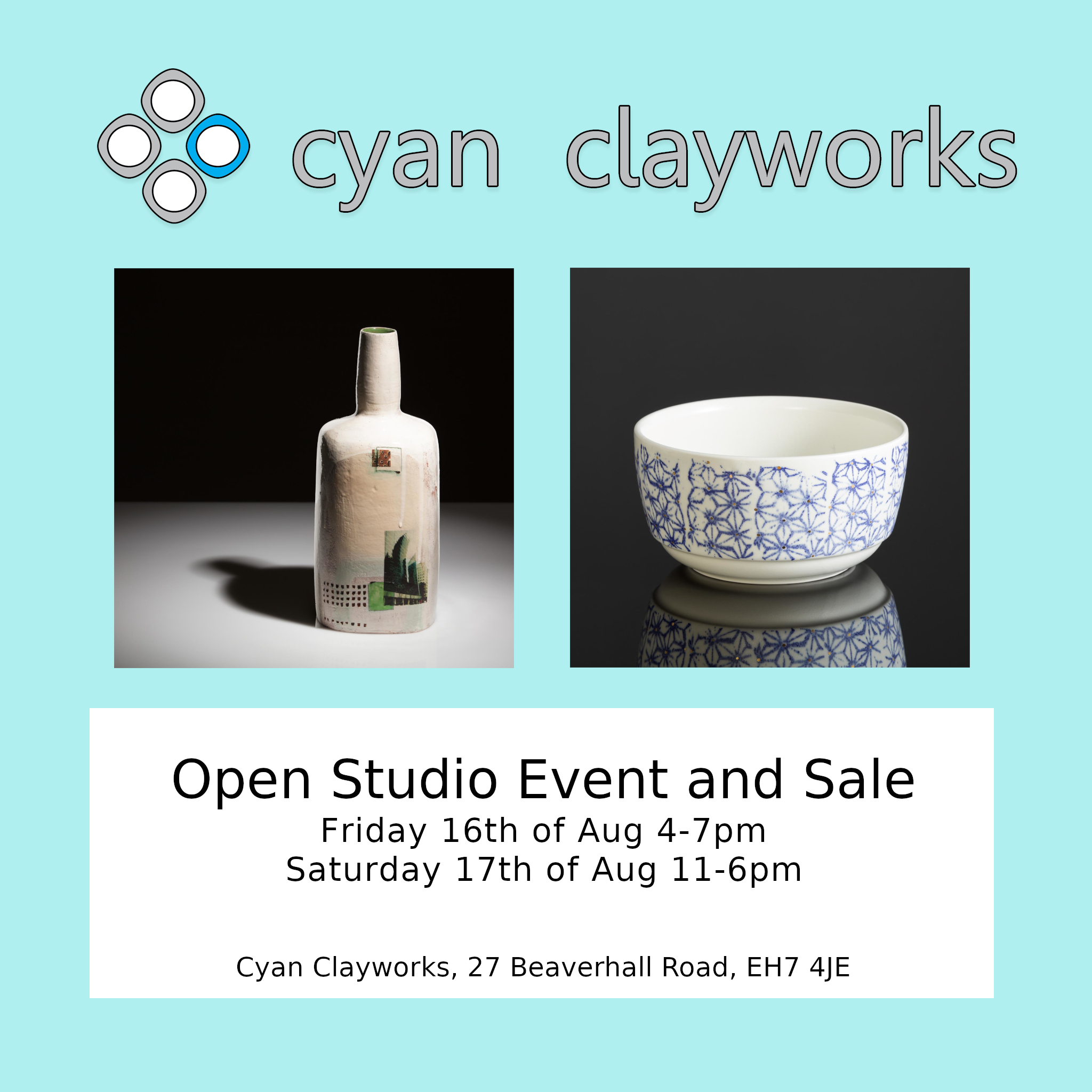 Cyan Clayworks open studio & sale