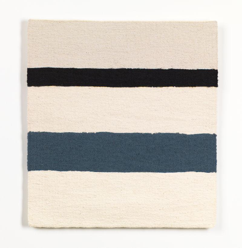 Sara Brennan, 'Thin Black Linen Horizontal with Old Grey Blue', 2019. © the artist.jpg