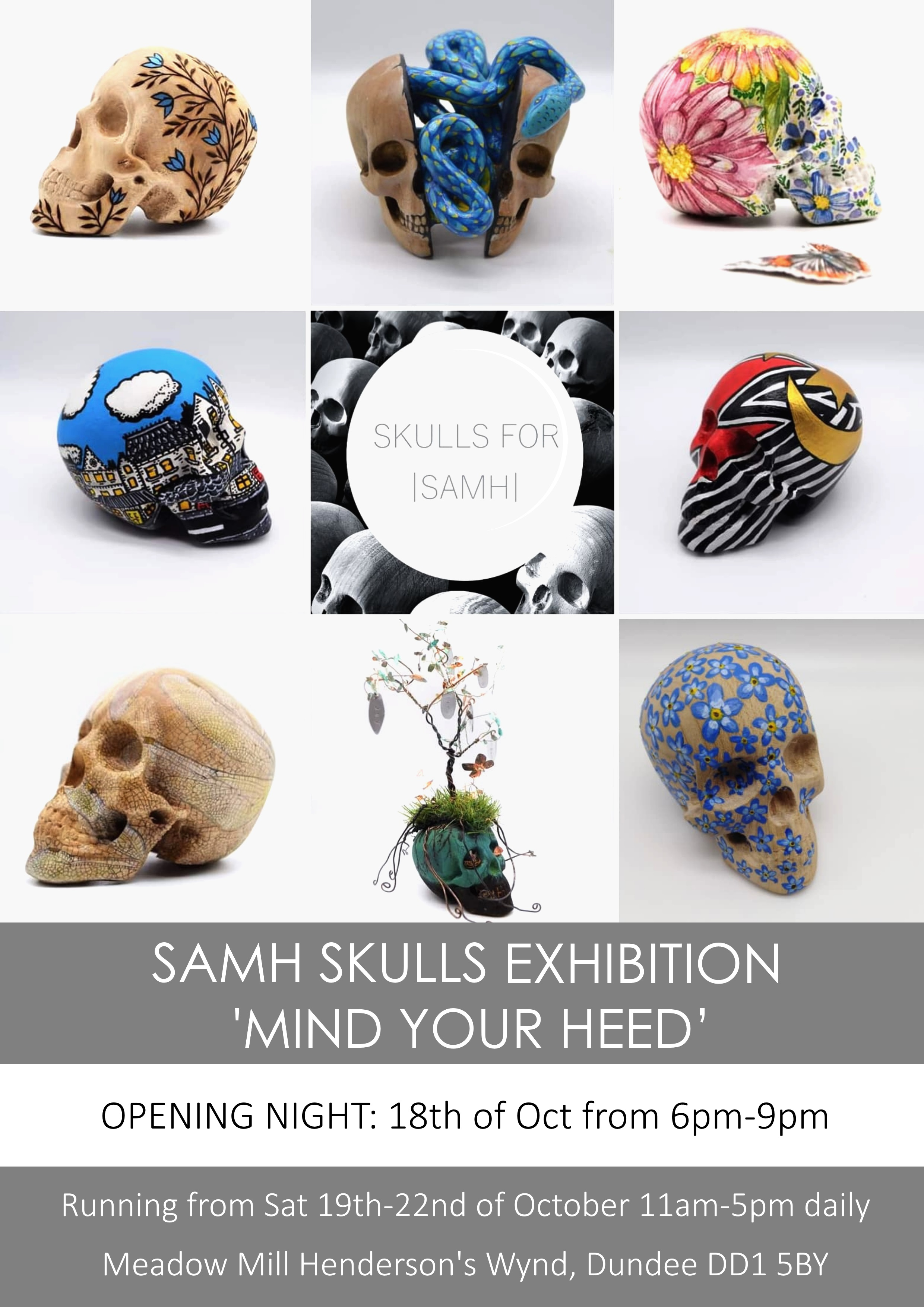 Skulls for SAMH Exhibition- Mind your Heed