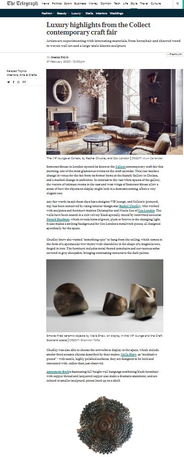 The Telegraph: Luxury highlights from the Collect contemporary craft fair