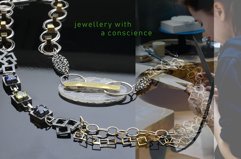 A photo-montage of silver jewellery and a person working on the right, with text in green reading jewellery with a conscience