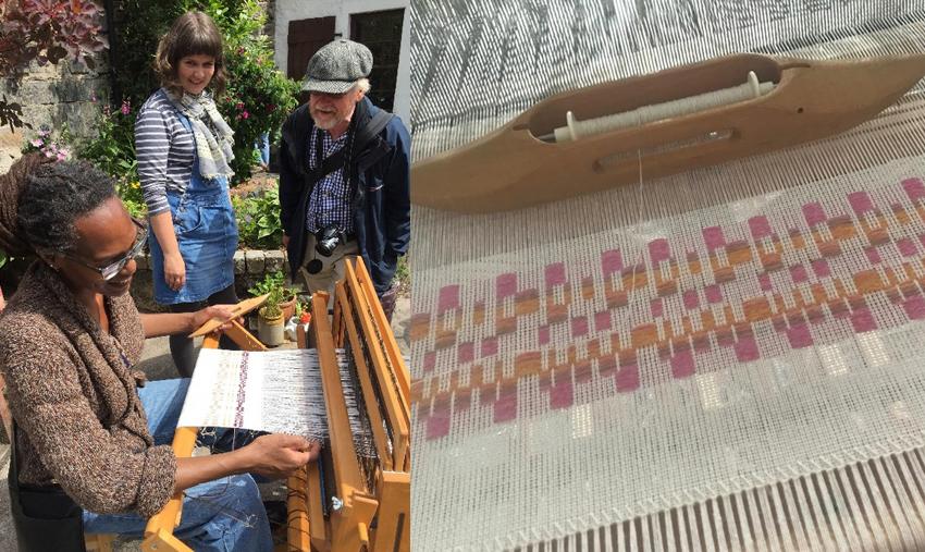 Members of the public try weaving