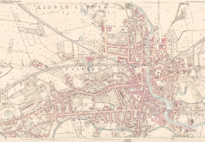 Image: annotated map of Paisley from 1857. So