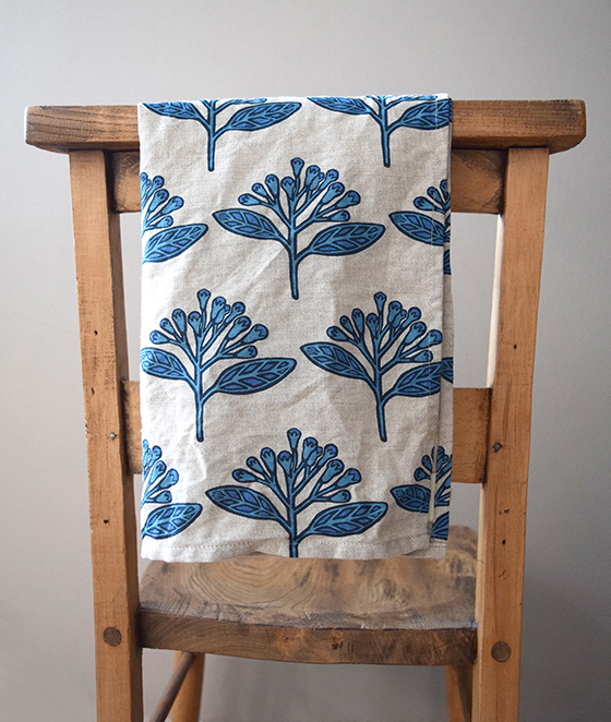 Handmade Tea Linen towel in Blue Cloves Design