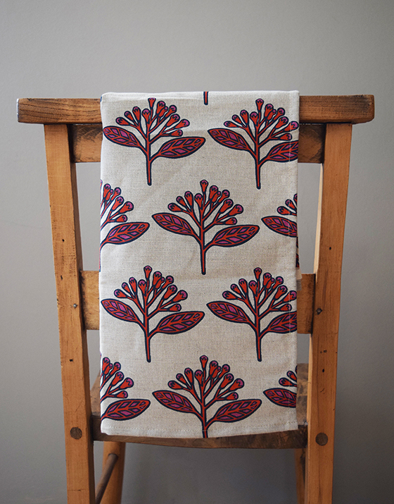 Handmade Linen Tea Towel  in Red Cloves Design