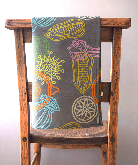 Handmade Linen Tea towel in Grey Seed Design