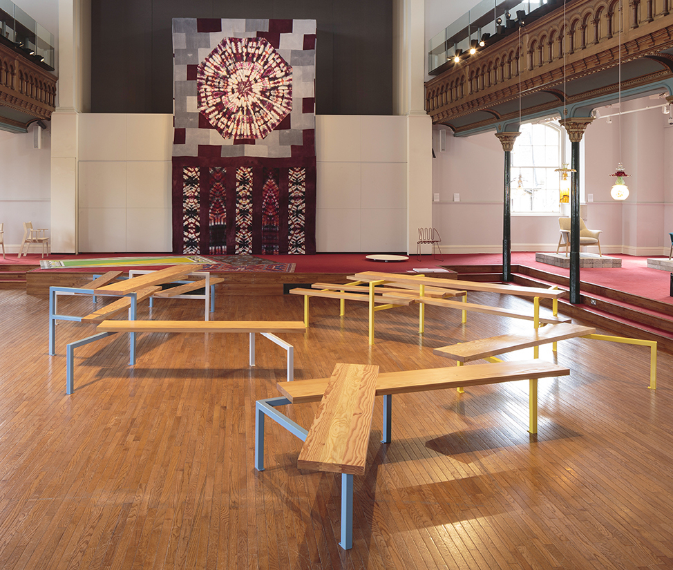 DES 2018 – Andrew Miller's sculptural sitting Refraction & Terrace and Rachel Adams' tie-dyed linen wall-hanging, Elevation.