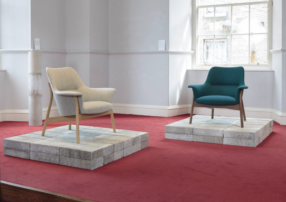 Namon GastonandPeter HolmesOxbow Lounge Chair2018 European oak, handwoven fabric by Mourne Textiles (left) American black walnut, handwoven fabric by Eleanor Pritchard (right); awarded Design Guild Mark 2019